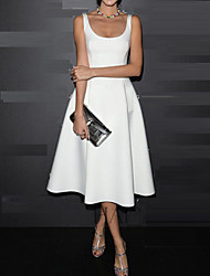 Women's Solid Color White / Black Dresses , Party / Work Round Midi