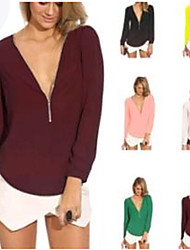 Women's V-Neck Zipper Tops & Blouses , Chiffon Casual/Work Long Sleeve Phylomeya