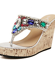 Women's Shoes Synthetic Wedge Heel Wedges Sandals Outdoor/Dress/Casual Silver
