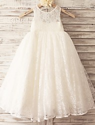 Princess Floor-length Flower Girl Dress - Lace / Tulle Sleeveless Scoop with