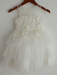 Princess Knee Length Flower Girl Dress - Lace Satin Tulle Sleeveless Scoop Neck with Applique