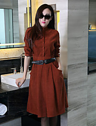 Women's Vintage / Casual Solid A Line Dress , Stand Knee-length Suede
