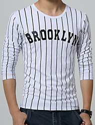 Men's Striped Casual T-Shirt,Cotton Long Sleeve-Blue / White