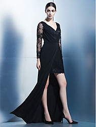TS Couture Formal Evening Dress - Sexy Sheath / Column V-neck Asymmetrical Chiffon Lace with Lace Side Draping