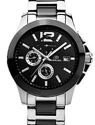 BINKADA Men's Round Dial Steel Band Automatic Mechanical Wrist Watch