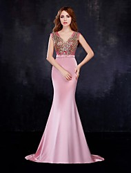 Formal Evening Dress Trumpet / Mermaid V-neck Floor-length Satin / Tulle with Crystal Detailing