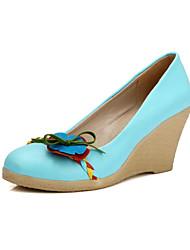 Women's Shoes Platform Comfort/Round Toe Pumps/Heels Wedding/Outdoor/Office & Career/Dress/Casual Blue/Yellow/White