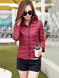 Women's Stand Collar Slim Thin Long Sleeve Down Coat , Casual/Work/Plus Sizes Cotton/Polyester/Feather