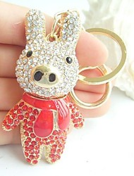Lovely Pig Piggy Key chain With Clear & Red Rhinestone Crystals