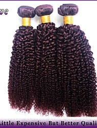 "3Pcs/Lot 10""-26"" Brazilian Kinky Curly Virgin Hair Burgundy Pure Color Remy Human Hair Extensions Queen Hair Products"