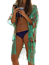 Women Bikini Cover Up Floral Print Tassels Chiffon Semi-sheer Bathing Suit Loose Long Swimwear Summer Beach