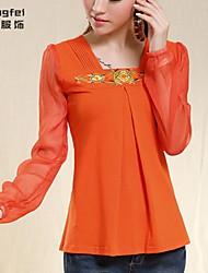 Women's Black/Orange Blouse ¾ Sleeve