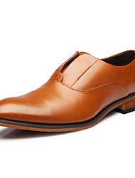 Oxfords ( Cuero , Negro/Marrón Tacón plano para Zapatos de hombre