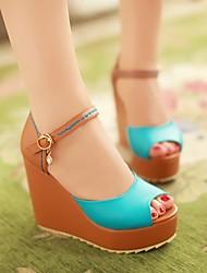 Women's Shoes Blue/Orange/White/Yellow Wedge Heel 10-12cm Sandals (PU)