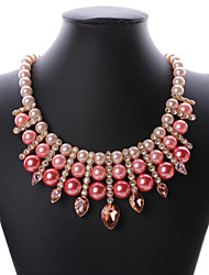 Women's Collar Necklace Statement Necklaces Imitation Pearl Gemstone Pearl Alloy GeometricImitation Pearl Statement Jewelry Luxury