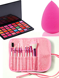 Pro 8pcs Makeup Brushes Set Foundation Eyeshadow Lip +35 Color Lipstick cosmetic palette Lip Gloss +Sponge Blender Puff