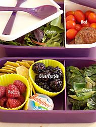 12:00 horloge 2 couches contenant bento box 1.4l plastique allant au micro-ondes alimentaire (couleur aléatoire)