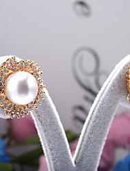 Sjeweler Girls Gold Plating Pearl Zircon Stud Earrings