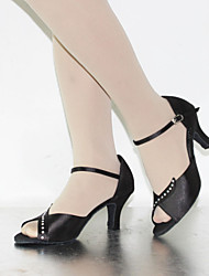 Customizable Women's Dance Shoes Latin Silk/Leather Stiletto Heel Black/Chocolate