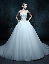 Ball Gown Chapel Train Wedding Dress - Spaghetti Straps Tulle