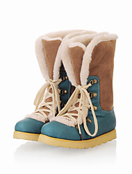Women's Shoes Faux Leather Flat Heel Fashion Boots Boots Dress/Casual Blue/Yellow/Pink