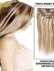 """14 """"- 34"""", onbewerkt indian remy hair straight clip-in hair remy human hair extensions 100 gram in voorraad"""