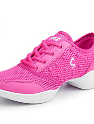 Modern Women's Dance Shoes Sneakers Synthetic Low Heel Black/Fuchsia