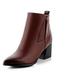 Zapatos de mujer Semicuero Tacón Robusto Puntiagudos Botas Casual Negro/Marrón