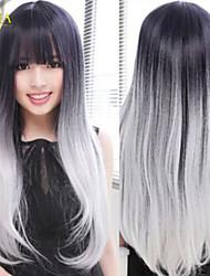 2015 neue Ankunfts lolita Gradienten schwarz + graue Perücke Frauen lange Gerade ombre Haar cosplay anime volle Perücken