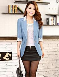 Women's Long Sleeve Blazer , Denim Regular Casual/Party/Work