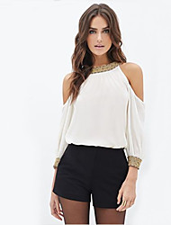 Women's Round Neck Sequins Blouse , Chiffon ¾ Sleeve