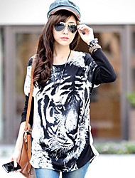Women's Round Tops & Blouses , Polyester/Viscose Print Long Sleeve qingshadieying