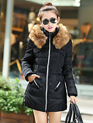 Women's Button Coats & Jackets , Cotton Bodycon/Casual Long Sleeve BLS
