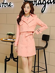 Women's Long Sleeve Cotton Trench Coat , Casual