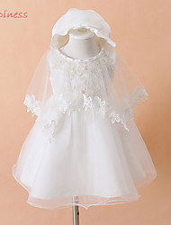 3Pieces Hat +Dress+Wedding Shawls Baby Flower Girl's Cotton/Mesh/Polyester Dress , Summer/Winter/Spring/Fall Sleeveless