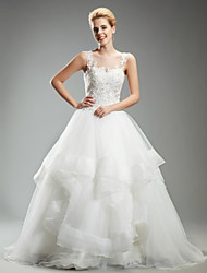Princess Scoop Ankle-length Wedding Dress (Organza)
