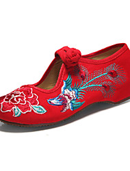 Women's Shoes Fabric Flat Heel Ballerina/Round Toe Flats Wedding/Party & Evening/Casual Black/Red