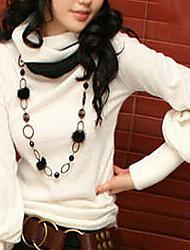 Women's Turtleneck Blouse , Cotton Long Sleeve
