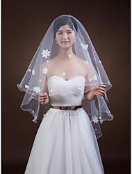 Wedding Veil One-tier Fingertip Veils Pencil Edge Tulle White White / Ivory / Beige