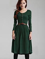 Women's Round Dresses , Acrylic Vintage/Sexy/Casual Long Sleeve YaYiGe