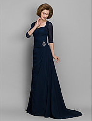 Lanting Bride® A-line Mother of the Bride Dress Sweep / Brush Train 3/4 Length Sleeve Chiffon with Beading / Ruching
