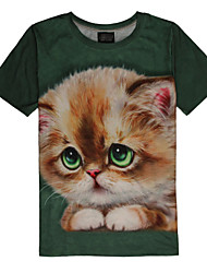 2015 Women's Summer High Quality Personality Leisure Pattern Space Cotton Cute 3D T-Shirt -—— Green Eyes Poor Cat