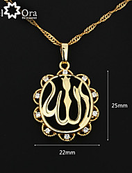 Fashion Allah Necklaces & Pendants For Women 18K Gold Plated Cubic Zirconia Pendant Necklace With Chain