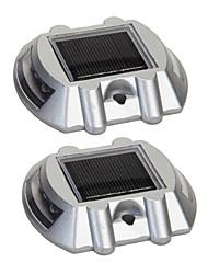 pack de 2 aluminium solaire 6-LED route extérieure Allée quai chemin rez-lumière de la lampe