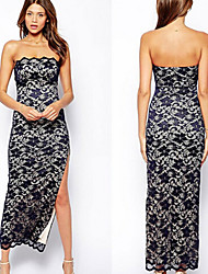 family Women's Print Multi-color Dresses , Sexy / Party Strapless Sleeveless
