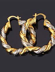 U7® Women's Vintage Big Hoop Earrings 2015 Fashion Jewelry Platinum/Gold Plated Two-tone Gold Earrings