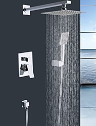 Shengbaier Wall Mounted Double Handles Brass Shower Faucet with Square Shower Head and Hand Shower