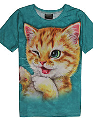 2015 Women's Summer High Quality Personality Leisure Pattern Space Cotton Cute 3D T-Shirt -—— Naughty Green Eyes Cat