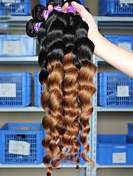 A Ombre Cheveux Brésiliens Ondulation Lâche 12 mois tissages de cheveux