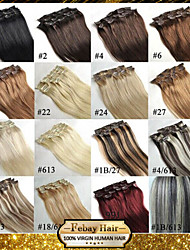 Full Head Clip in Hair Extensions 100% Real Remy Human Hair
